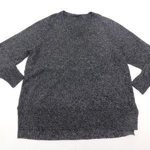 Ann Taylor XL Black Gray V Neck Sweater  Wool Blen